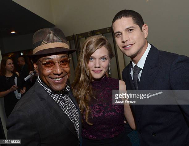 Actors Giancarlo Esposito Tracy Spiridakos and JD Pardo pose backstage at the 39th Annual People's Choice Awards at Nokia Theatre LA Live on January...