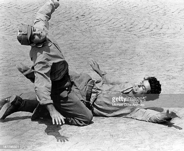Actors Giancarlo Giannini and Tim Donnelly on set of the United Artist movie The Secret of Santa Vittoria in 1969