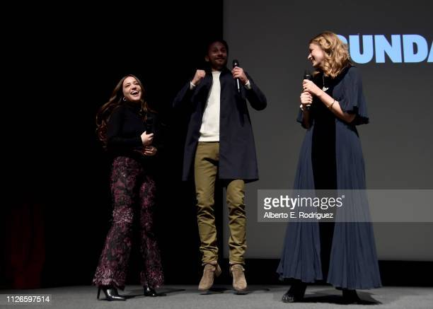 Actors Gideon Adlon Matthias Schoenaerts and Director Laure de ClermontTonnerre speak on stage during The Mustang Premiere during the 2019 Sundance...