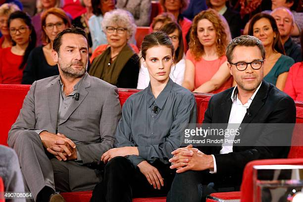 Actors Gilles Lellouche Marine Vacth and Guillaume de Tonquedec present the Movie Belles familles during the 'Vivement Dimanche' French TV Show at...