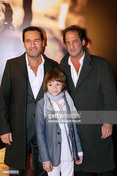 Actors Gilles Lellouche Max Baissette de Malglaive and Vincent Lindon attend the 'Mea Culpa' Paris premiere held at Gaumont Opera on February 2 2014...