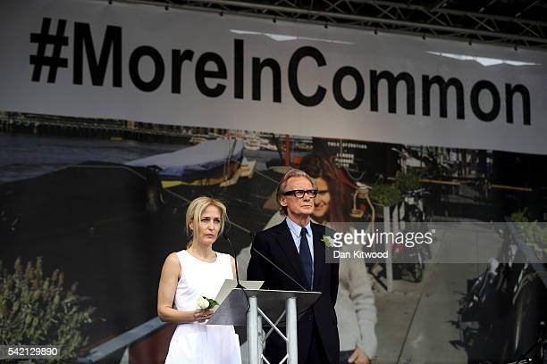 Actors Gillian Anderson and Bill Nighy on stage during a memorial event for murdered Labour MP Jo Cox at Trafalger Square on June 22, 2016 in London,...