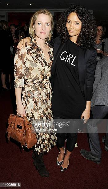 Actors Gillian Anderson and Thandie Newton attend the Sadler's Wells Fundraising Gala Extraordinary Collaborations at the Sadler's Wells Theatre on...