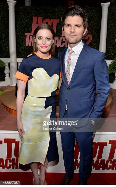 Actors Gillian Jacobs and Adam Scott attend the premiere of Paramount Pictures' Hot Tub Time Machine 2 at Regency Village Theatre on February 18 2015...