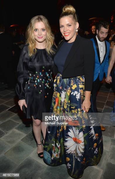 Actors Gillian Jacobs and Busy Philipps attend The Art of Elysium's 7th Annual HEAVEN Gala presented by Mercedes-Benz at Skirball Cultural Center on...