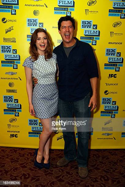 Actors Gillian Jacobs and Ken Marino pose in the greenroom at the screening of 'Milo' during the 2013 SXSW Music Film Interactive Festival at Alamo...