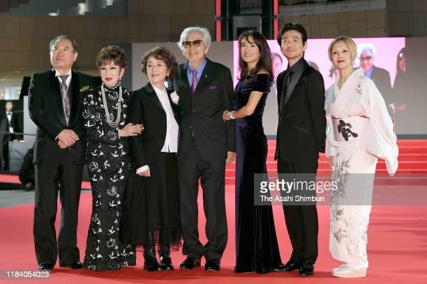 Actors Gin Maeda Ruriko Asaoka Chieko Baisho film director Yoji Yamada actors Kumiko Goto Hidetaka Yoshioka and Mari Natsuki pose during the opening...