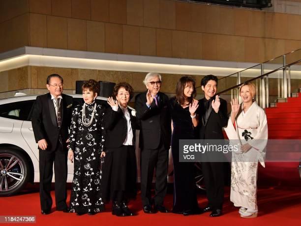 Actors Gin Maeda Ruriko Asaoka Chieko Baisho film director Yoji Yamada actors Kumiko Goto Hidetaka Yoshioka and Mari Natsuki arrive at the opening...