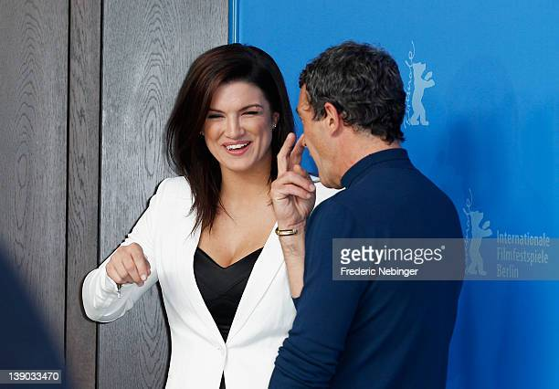 Actors Gina Carano and Antonio Banderas attend the Haywire Photocall during day seven of the 62nd Berlin International Film Festival at the Grand...