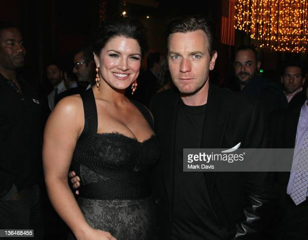 Actors Gina Carano and Ewan McGregor attend Relativity Media's premiere of 'Haywire' after party cohosted by Playboy held at the DGA Theater on...