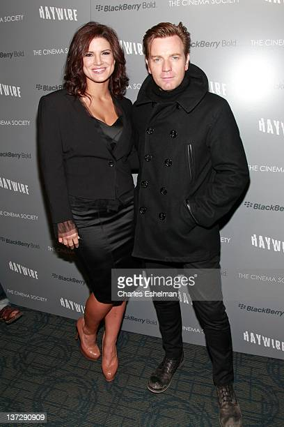 Actors Gina Carano and Ewan McGregor attend the Cinema Society Blackberry Bold screening of Haywire at Landmark Sunshine Cinema on January 18 2012 in...