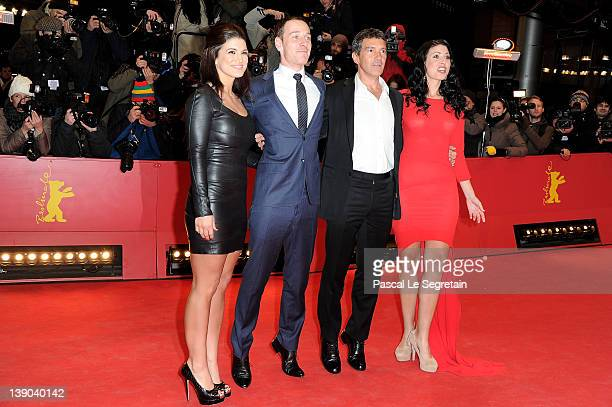 Actors Gina Carano Michael Fassbender Antonio Banderas and Natascha Berg attend the Haywire Premiere during day seven of the 62nd Berlin...