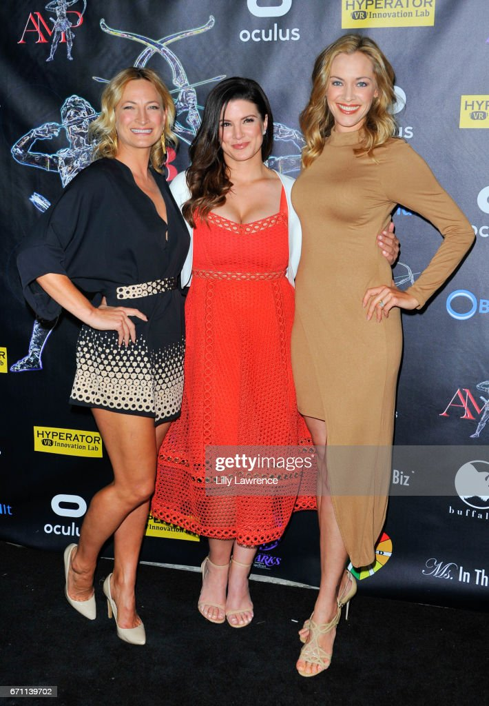 Actors Gina Carano, Zoe Bell, and Kristanna Loken attend Artemis Women In Action Film Festival at Laemmle's Ahrya Fine Arts Theatre on April 20, 2017 in Beverly Hills, California.