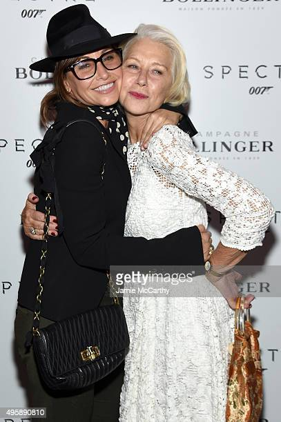 Actors Gina Gershon and Helen Mirren attend the Spectre prerelease screening hosted by Champagne Bollinger and The Cinema Society at the IFC Center...