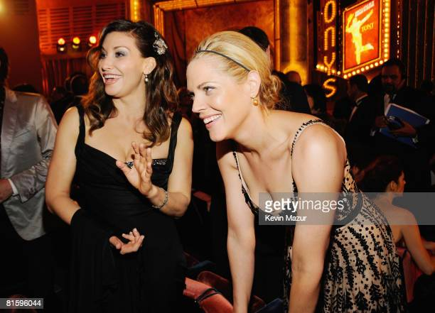Actors Gina Gershon and Mary McCormack pose backstage during the 62nd Annual Tony Awards at Radio City Music Hall on June 15 2008 in New York City