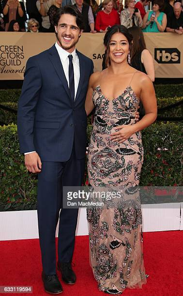 Actors Gina Rodriguez and Joe LoCicero arrive at the 23rd Annual Screen Actors Guild Awards at The Shrine Expo Hall on January 29 2017 in Los Angeles...
