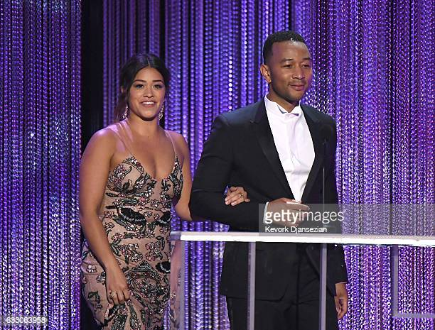 Actors Gina Rodriguez and John Legend onstage during the 23rd Annual Screen Actors Guild Awards at The Shrine Expo Hall on January 29 2017 in Los...