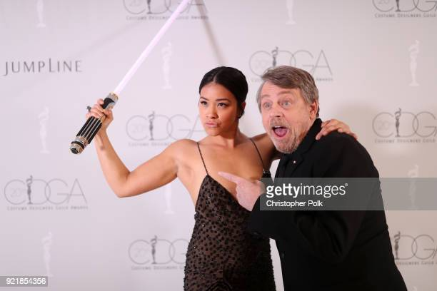 Actors Gina Rodriguez and Mark Hamill attend the Costume Designers Guild Awards at The Beverly Hilton Hotel on February 20 2018 in Beverly Hills...