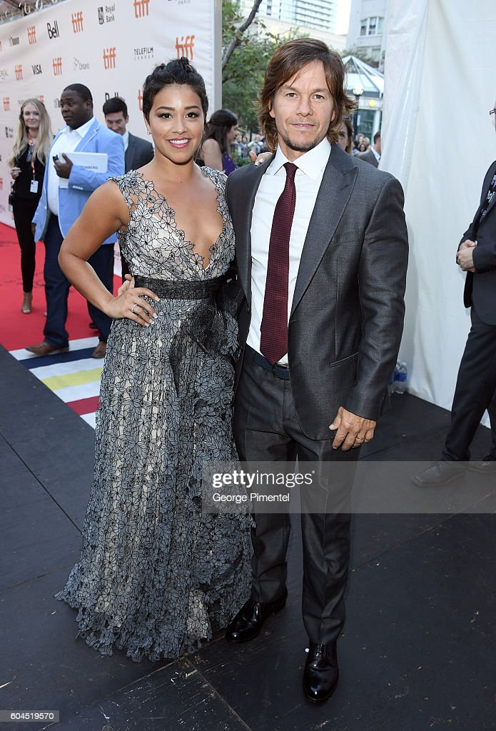 Actors Gina Rodriguez (L) and Mark Wahlberg attend the 'Deepwater Horizon' premiere during the 2016 Toronto International Film Festival at Roy Thomson Hall on September 13, 2016 in Toronto, Canada.