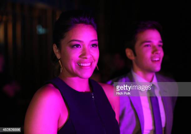 Actors Gina Rodriguez and Nathan Kress at the 2014 Young Hollywood Awards brought to you by Samsung Galaxy at The Wiltern on July 27 2014 in Los...