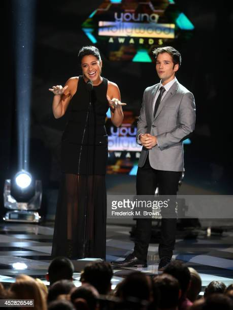 Actors Gina Rodriguez and Nathan Kress speak onstage at the 2014 Young Hollywood Awards brought to you by Samsung Galaxy at The Wiltern on July 27...