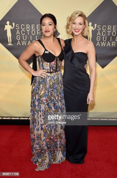 Actors Gina Rodriguez and Yael Grobglas attend the 24th Annual Screen Actors Guild Awards at The Shrine Auditorium on January 21 2018 in Los Angeles...