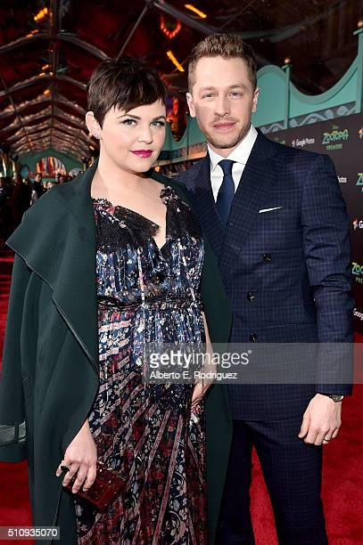 Actors Ginnifer Goodwin and Josh Dallas attend the Los Angeles premiere of Walt Disney Animation Studios' Zootopia on February 17 2016 in Hollywood...