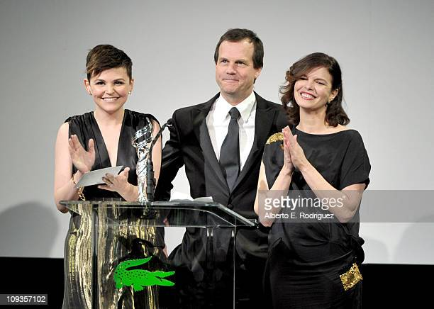 Actors Ginnifer Goodwin, Bill Paxton and Jeanne Tripplehorn speak onstage at the 13th Annual Costume Designers Guild Awards with presenting sponsor...