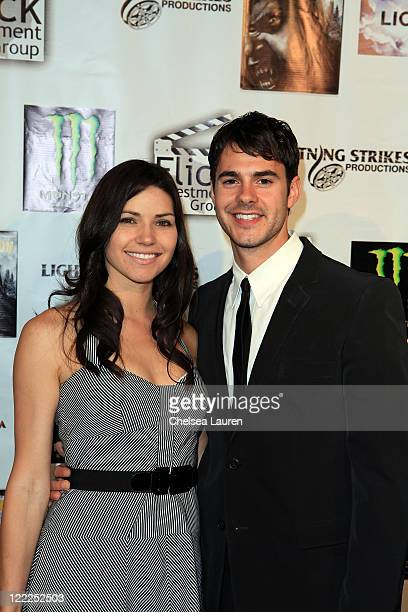 Actors Ginny Weirick and Jayson Blair arrive at the Wolf Moon North American DVD Premiere at Raleigh Studios on June 17 2010 in Los Angeles California