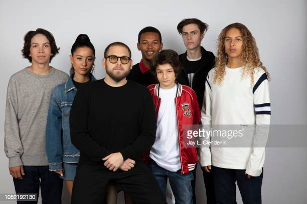 Actors Gio Galicia Alexa Demie writer/director Jonah Hill NaKel Smith Sunny Suljic Ryder McLaughlin and Olan Prenatt from 'Mid90s' are photographed...