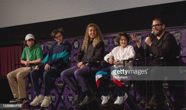 Actors Gio Galicia Ryder McLaughlin Olan Prenatt Sunny Suljic and writer/director Jonah Hill participate in a QA following the US premiere of...