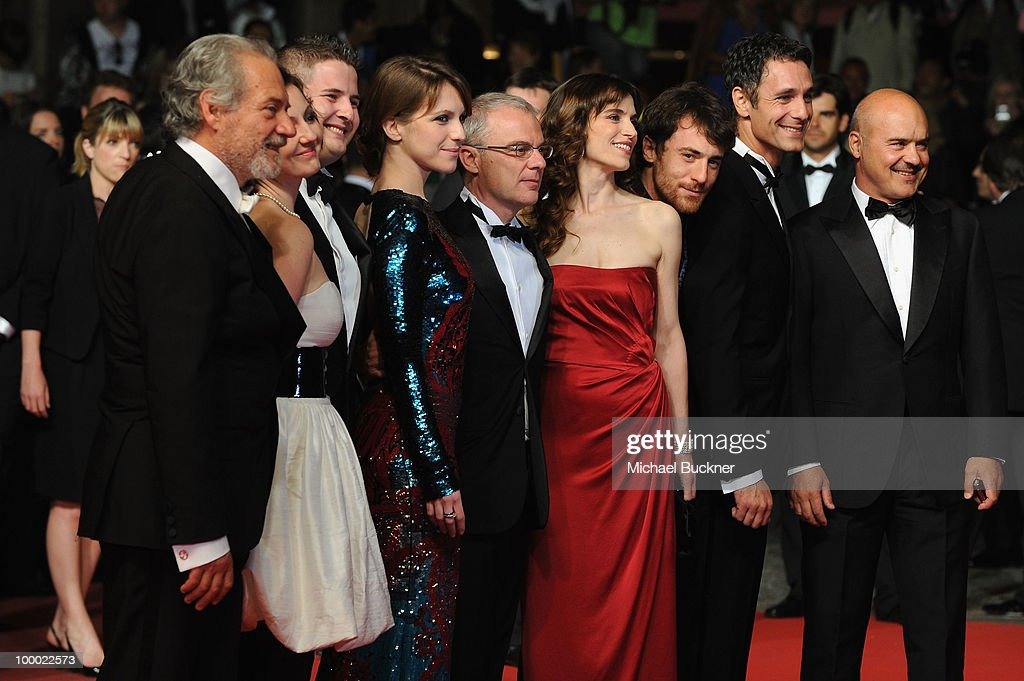 Actors Giorgio Colangeli, actress Isabella Ragonese, actor Marius Ignat, actress Alina Berzenteanu, director Daniele Luchetti, actress Stefania Montorsi and actors Raoul Bova and Luca Zingaretti attend the 'Our Life' Premiere at the Palais des Festivals during the 63rd Annual Cannes Film Festival on May 20, 2010 in Cannes, France.