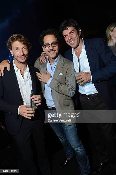 Actors Giorgio Pasotti Beppe Fiorello and Pierfrancesco Favino attend the OCTO The New Architecture of Time by Bulgari dinner at the Stadio dei Marmi...