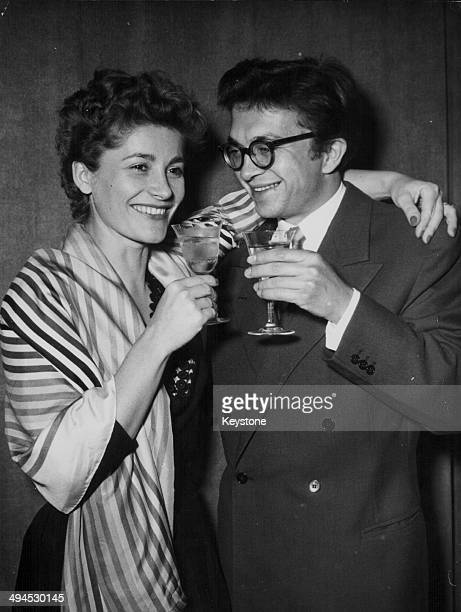 Actors Gisela Uhlen and Wolfgang Kieling celebrating their marriage in Munich Germany August 26th 1953