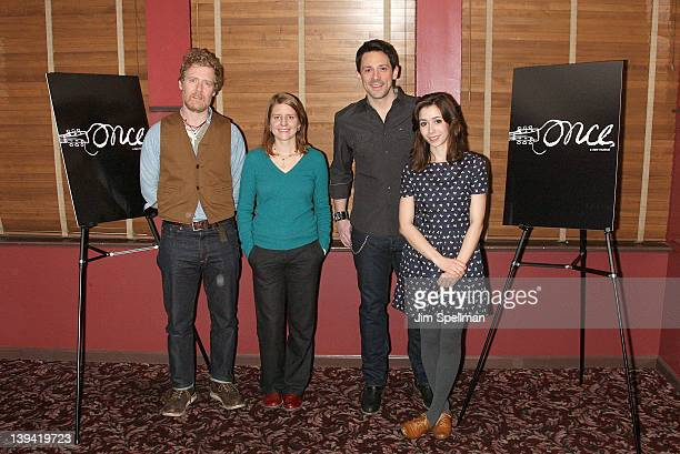Actors Glen Hansard Marketa Irglova Steve Kazee and Cristin Milioti attend the Once Broadway cast photocall at Sardi's on February 20 2012 in New...