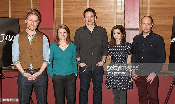 Actors Glen Hansard Marketa Irglova Steve Kazee Cristin Milioti and director John Tiffany attend the Once Broadway cast photocall at Sardi's on...