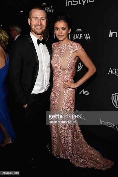 Actors Glen Powell and Nina Dobrev attend The 2016 InStyle And Warner Bros 73rd Annual Golden Globe Awards PostParty at The Beverly Hilton Hotel on...