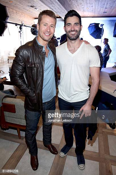 Actors Glen Powell and Tyler Hoechlin attend The Samsung Studio at SXSW 2016 on March 11 2016 in Austin Texas