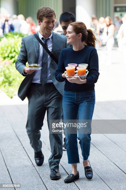 Actors Glen Powell and Zoey Deutch are seen filming 'Set It Up' on the Highline on June 15 2017 in New York City