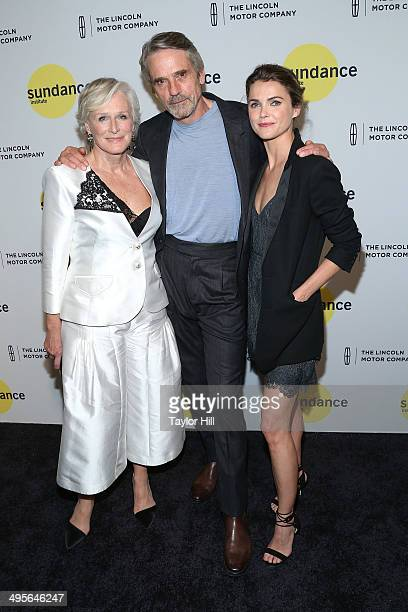 Actors Glenn Close Jeremy Irons and Keri Russell attend the Sundance Institute Vanguard Leadership Award honoring Glenn Close at Stage 37 on June 4...