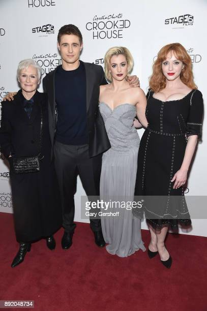 Actors Glenn Close Max Irons Stefanie Martini and Christina Hendricks attend the 'Crooked House' New York premiere at Metrograph on December 13 2017...