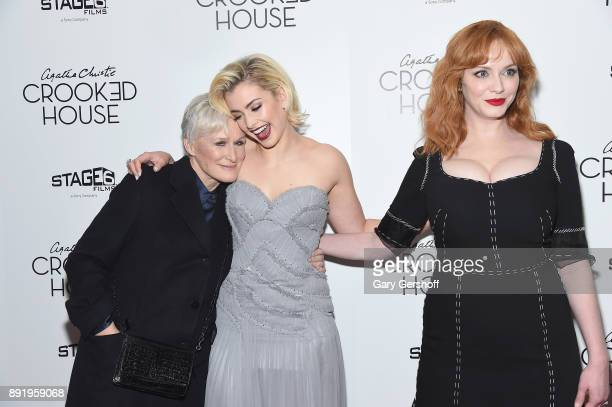 Actors Glenn Close Stefanie Martini and Christina Hendricks attend the 'Crooked House' New York premiere at Metrograph on December 13 2017 in New...