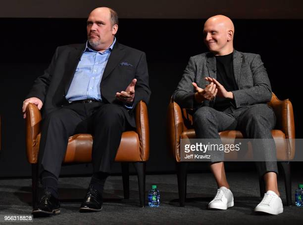 Actors Glenn Fleshler and Anthony Carrigan speak onstage in a panel discussion for BARRY FYC at Wolf Theatre on May 8 2018 in North Hollywood...