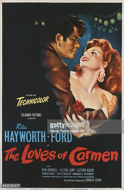 Actors Glenn Ford and Rita Hayworth appear on the poster for the Columbia Pictures film 'The Loves Of Carmen', with colour by Technicolor, 1948. The...