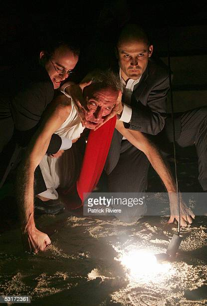 Actors Glenn Hazeldine Arthur Dignam and John Leary perform during a photo call for William Shakespeare's Julius Caesar at the Wharf1 Theatre on June...