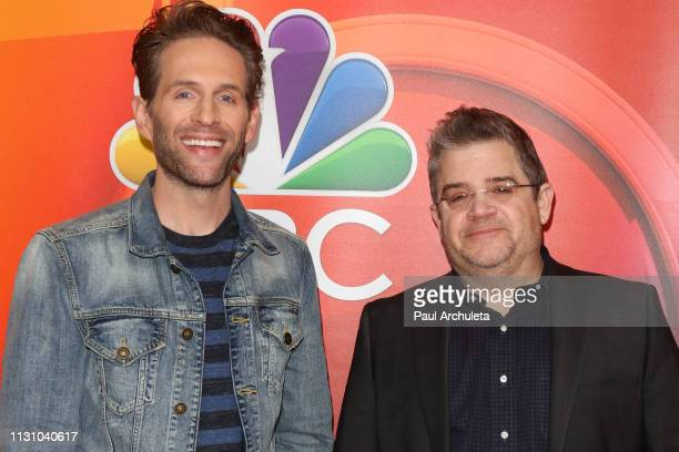 Actors Glenn Howerton and Patton Oswalt attend the NBC's Los Angeles midseason press junket at NBC Universal Lot on February 20 2019 in Universal...