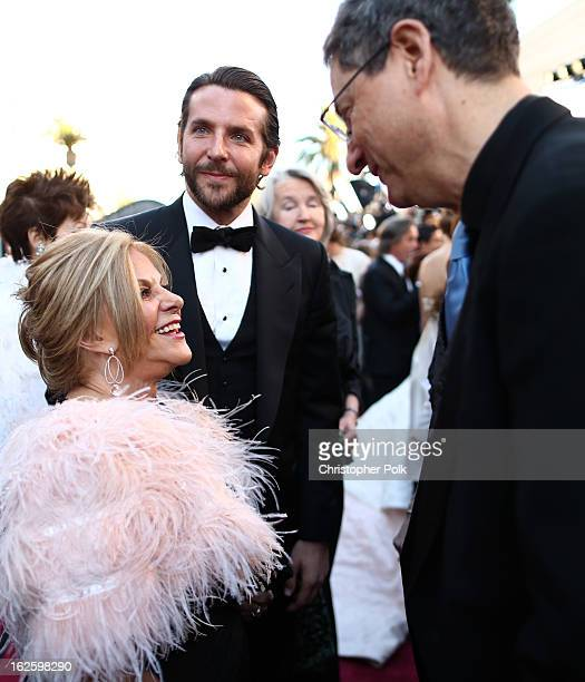 Actors Gloria Cooper Bradley Cooper and writer Tony Kushner arrive at the Oscars held at Hollywood Highland Center on February 24 2013 in Hollywood...