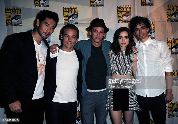 Actors Godfrey Gao Kevin Zegers Jamie Campbell Bower Lily Collins and Robert Sheehan attend the Sony and Screen Gems panel during ComicCon...