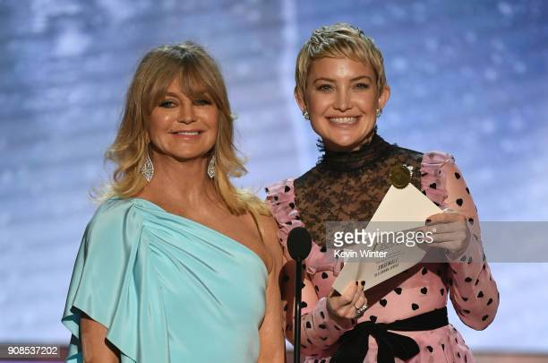 Actors Goldie Hawn and Kate Hudson speak onstage during the 24th Annual Screen Actors Guild Awards at The Shrine Auditorium on January 21, 2018 in...