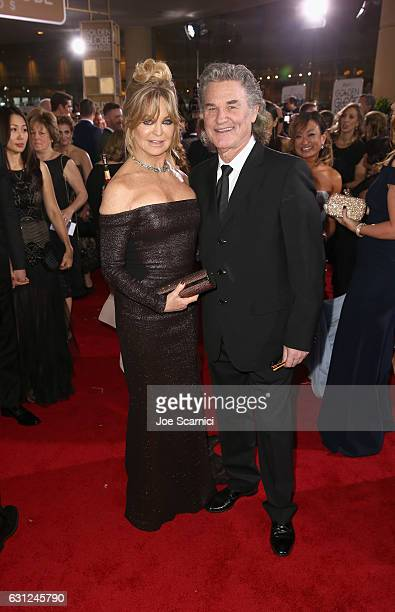 Actors Goldie Hawn and Kurt Russell attend the 74th Annual Golden Globe Awards at The Beverly Hilton Hotel on January 8 2017 in Beverly Hills...